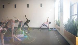 triangle pose in the lancaster studio with sun glare