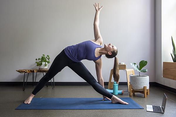 triangle pose virtual yoga class