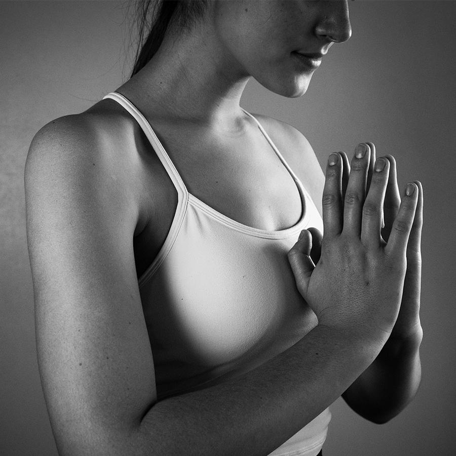 black and white yoga prayer hands